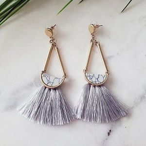 Gray Tassel Marble Stone Statement Earrings